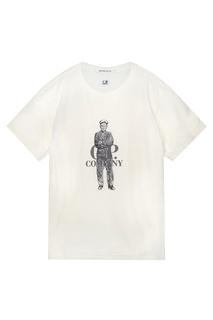 Хлопковая футболка с принтом и логотипом C.P. Company