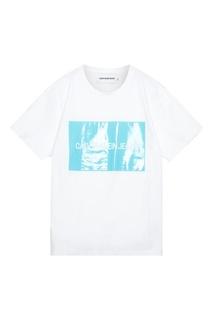 Белая с голубым футболка Calvin Klein Jeans