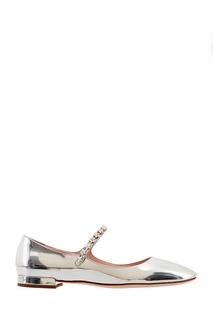 Серебристые туфли на низком каблуке Miu Miu