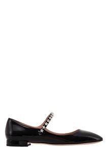 Черные туфли на низком каблуке Miu Miu