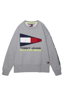 Серый свитшот с винтажными логотипами Tommy Jeans