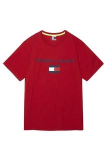 Красная хлопковая футболка с логотипом Tommy Jeans