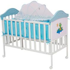 Кроватка BabyHit Sleepy compact Белый с голубым, с динозавриком на торце SLEEPY COMPACT BLUE