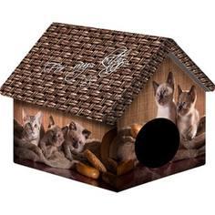 Домик PerseiLine Дизайн Котята и мешковина для кошек 33*33*40 см (00094/ДМД-1)
