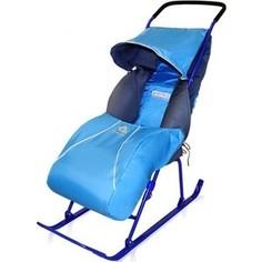 Санки-коляска Ника Тимка 2+ (плоск. полозья поднож, регулир. Ручка, чехол д/ног светоотр. кант) Синий Т2+ Nika