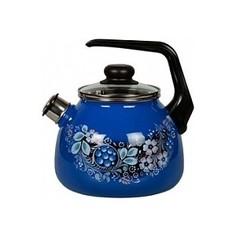 Чайник эмалированный со свистком 3.0 л СтальЭмаль Вологодский сувенир 4с209я