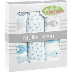 Салфетка Odenwalder (комплект 3штуки 80*80см) в коробке 010089-1 Рыбы Ice Blue 0208