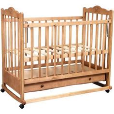 Кроватка Наша Мама соня светлый колесо-качалка ящик