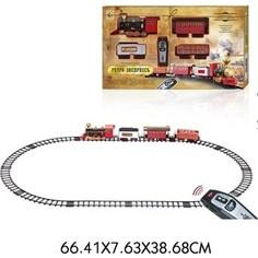 Железная дорога 1Toy Ретро Экспресс, свет,звук, дым, паровоз, 3 вагона, пульт д/у, 16 деталей, длина путей 148х86 см (Т10577)