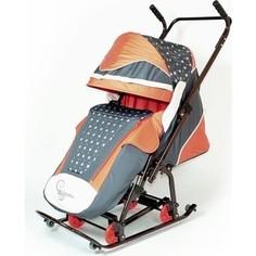 Санки коляска Скользяшки 0931-P14 Мозаика коричневый-терракотовый-светло-бежевый