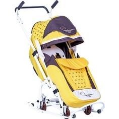 Санки коляска Скользяшки 0904-P14 Мозаика желтый-коричневый-светло-бежевый