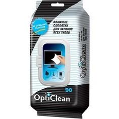Влажные салфетки OptiClean Авангард для экранов всех типов, 90 шт.