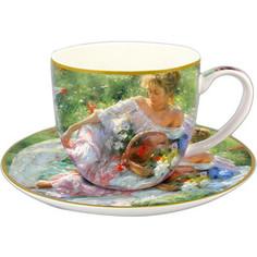 Чашка с блюдцем 0.25 л Carmani Девушка с корзиной цветов (CAR2-045-0232)