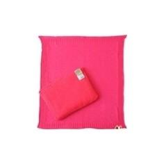 Комплект EKO вязанный косички подушка плед фуксия (KW-03)