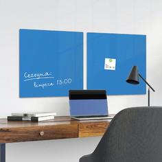 Доска магнитно-маркерная стеклянная BRAUBERG синяя, 45х45, 3 магнита, 236741