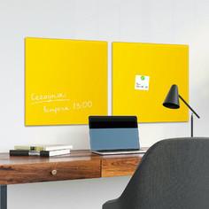 Доска магнитно-маркерная стеклянная BRAUBERG желтая, 45х45, 3 магнита, 236739
