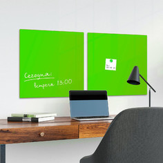 Доска магнитно-маркерная стеклянная BRAUBERG зеленая, 45х45, 3 магнита, 236740
