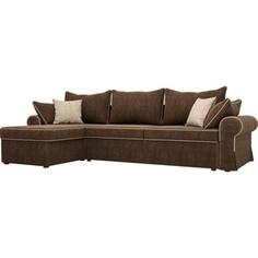 Диван угловой Лига Диванов Элис велюр коричневый с бежевыми подушками левый угол