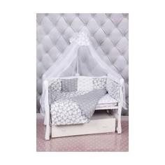 Комплект постельного белья AmaroBaby 18 предметов (6+12 подушек-бортиков) Silver (бязь, серый)