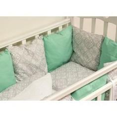 Комплект в кроватку с бортиками-подушками By Twinz 6 пр. Дамаск (мята)