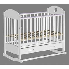 Кроватка Ведрусс Иришка 2 ящик колесо/качалка накладка сердечко Белая VD2201221