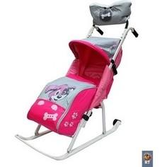 Санки коляска RT Комфорт Люкс 11 Любопытный щенок с колесиками и муфтой розовый
