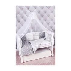 Комплект постельного белья AmaroBaby 18 предметов (6+12 подушек-бортиков) Royal Baby ( бязь, серый)