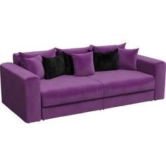 Диван-еврокнижка АртМебель Мэдисон микровельвет фиолетовый подушки черные