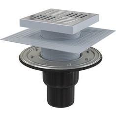 Душевой трап AlcaPlast 150х150/50/75 подводка прямая, нержавеющая сталь, гидрозатвор сухой и мокрый (APV4444)