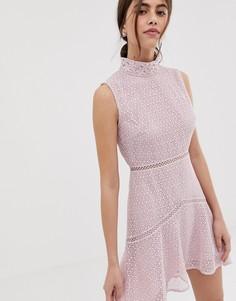 Розовое кружевное платье миди True Decadence Рremium - Розовый