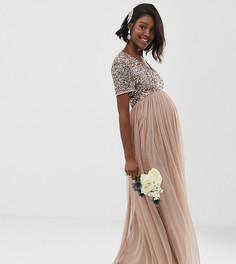 Платье макси из тюля с однотонными пайетками Maya Maternity Bridesmaid - Коричневый