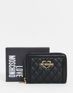 Стеганый кошелек на молнии Love Moschino - Черный