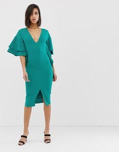 Зеленое платье миди с оборками на рукавах Lavish Alice - Зеленый