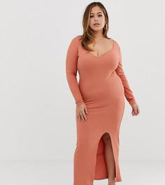Платье макси в рубчик с вырезом сердечком и разрезом ASOS DESIGN - Оранжевый