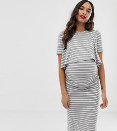 Серое платье 2 в 1 в белую полоску с короткими рукавами Bluebelle Maternity - Мульти