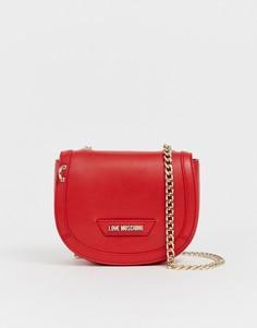 Сумка через плечо с золотистым ремешком Love Moschino - Красный