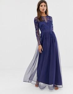 Платье макси из сетки с вышивкой с длинными рукавами ASOS DESIGN - Синий