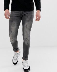 Рваные джинсы скинни Bolongaro Trevor - Серый