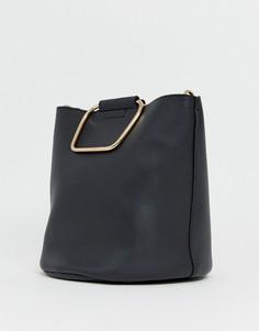 Черная сумка-мешок с металлическими ручками золотистого цвета Pimkie - Черный