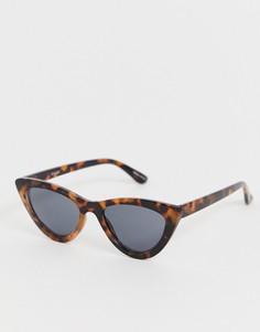 Черепаховые солнцезащитные очки кошачий глаз Pieces - Коричневый