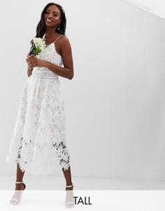 Белое кружевное платье макси на бретельках с цветочным узором Y.A.S Tall - Белый