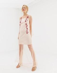 Сетчатое платье макси с вышивкой Glamorous - Розовый