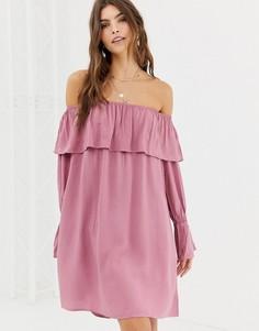 Платье миди с открытыми плечами Glamorous - Розовый