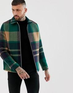 Зеленая куртка на молнии в клетку ASOS DESIGN - Зеленый