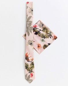 Розовый узкий галстук и платок для нагрудного кармана с цветочным принтом ASOS DESIGN Wedding - Розовый
