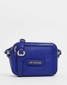 Синяя сумка через плечо с сердечком Love Moschino - Синий