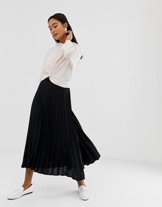 Черная плиссированная юбка миди New Look - Черный