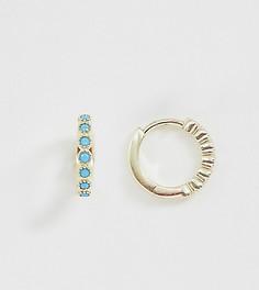 Позолоченные серьги-кольца с бирюзой Galleria Armadoro - Золотой