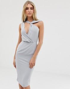 Серое платье миди с драпировкой и вырезом Lavish Alice - Серый