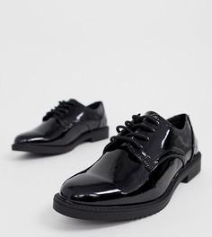 Черные лакированные массивные броги для широкой стопы New Look - Черный